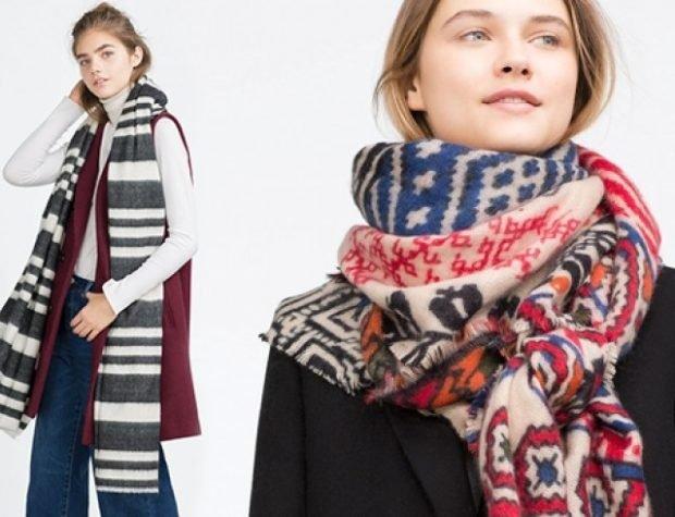 шарф шерстяной полоска в узор