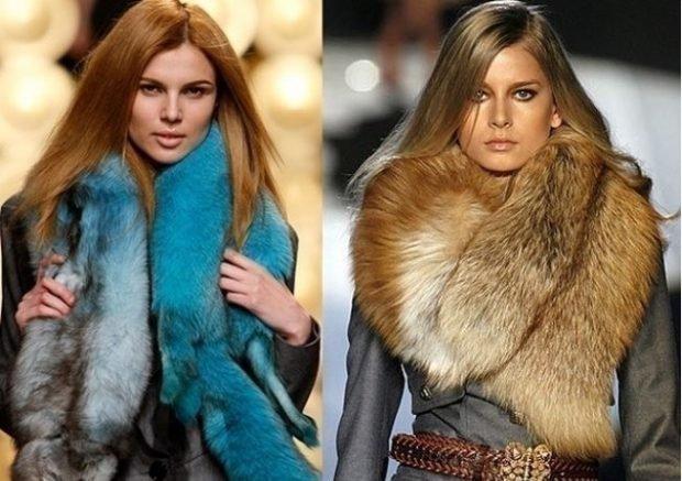 шарф меховой синий лисица