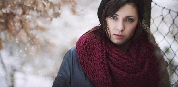 шарф хомут бордовый