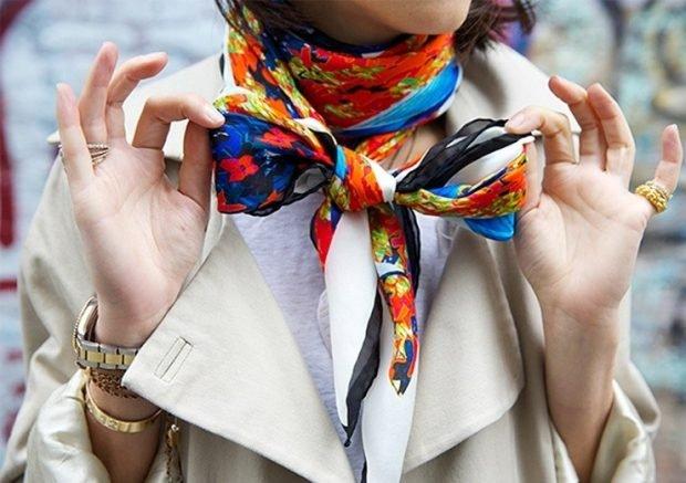 шелковый шарф цветной
