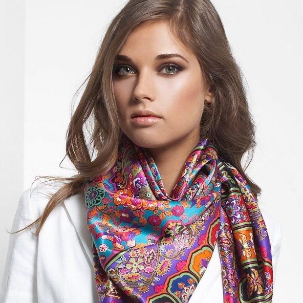 шарф шелковый цветной