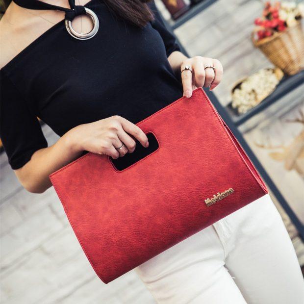 красная сумка кожа ручка прорезанная