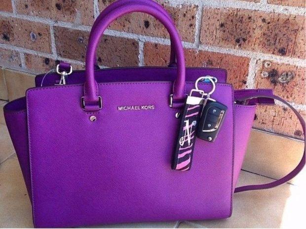 яркая фиолетовая сумка