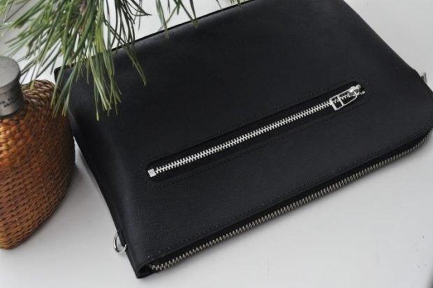кожаный клатч черный
