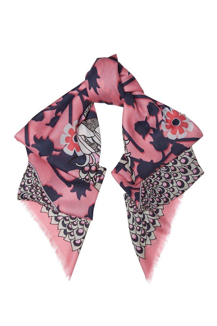 шарф шелковый в цветы