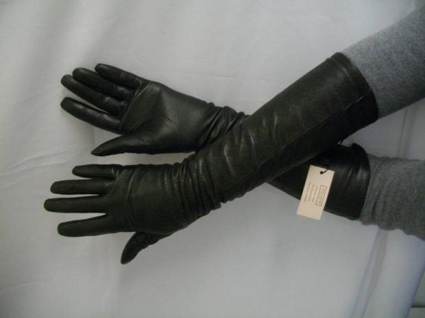 перчатки кожаные черные высокие