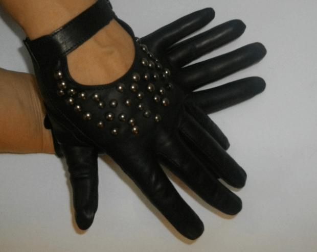 перчатки кожаные черные с вырезом