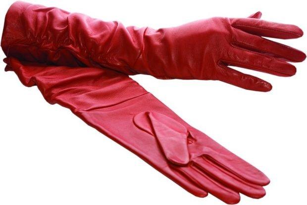 красные перчатки кожаные
