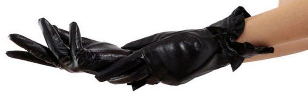кожаные перчатки черный с бантиком