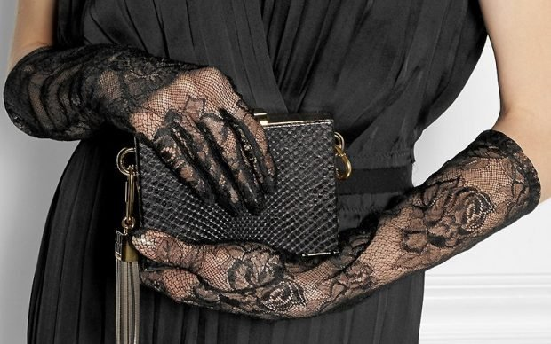 перчатки ретро кружевные черные