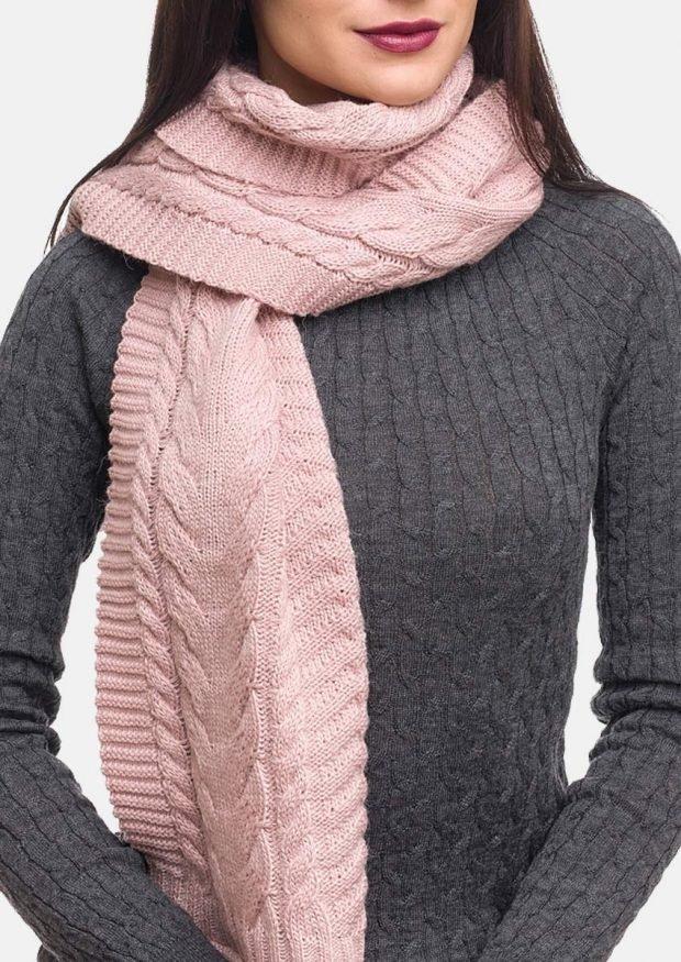 Модные аксессуары 2019 2020: шарф розовый теплый
