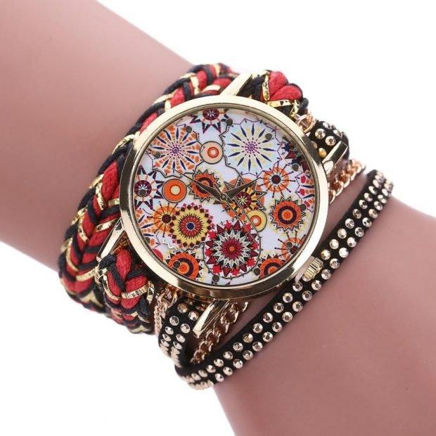 модные женские часы большие круглые с цветочками 2019 2020