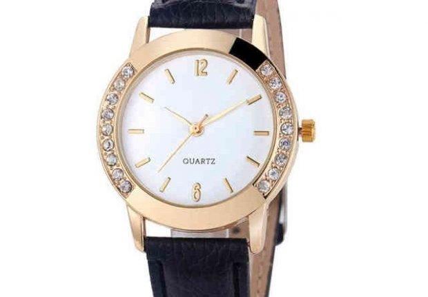 женские часы 2019 2020: кожаный ремень золотой ободок с камешками