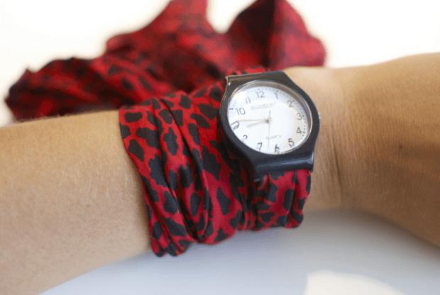 модные женские часы ремень платок красный с черным