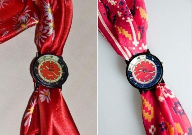 модные женские часы ремень платок красный шелк с цветами