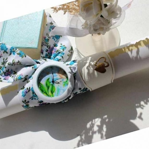 модные женские часы ремень платок белый с синими цветами
