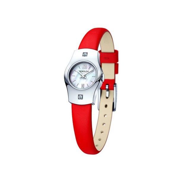 миниатюрные красный кожаный ремень циферблат серебро