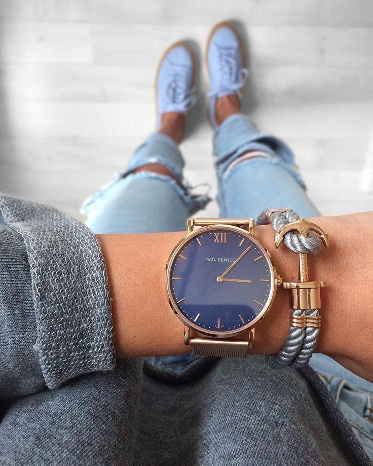 массивные часы модные женские 2018 золотые синий циферблат