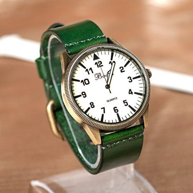 классические зеленый кожаный ремень цифры арабские