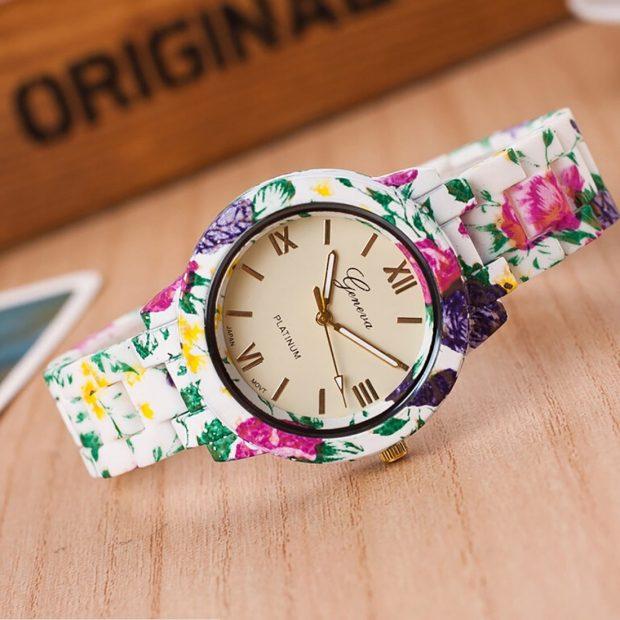 женские часы 2019 2020 каучуковый ремень с цветами