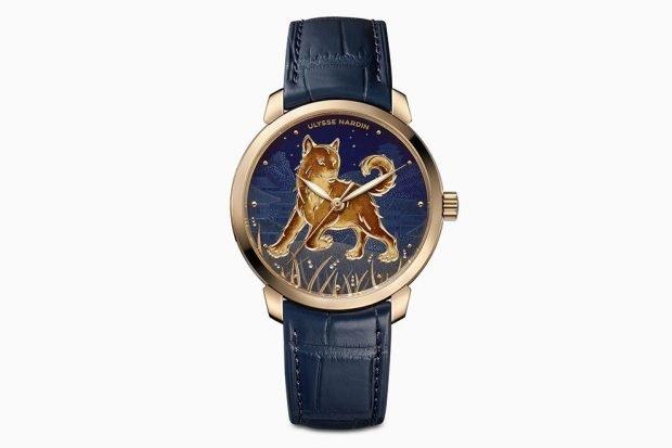 женские часы 2019 2020 кожаный ремень синий циферблат с собакой