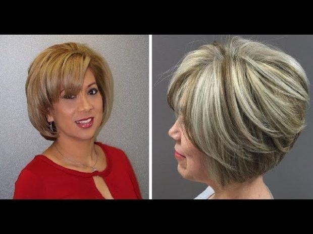 мода 2019 2020 короткая стрижка боб с косой челкой объемный для женщины за 50