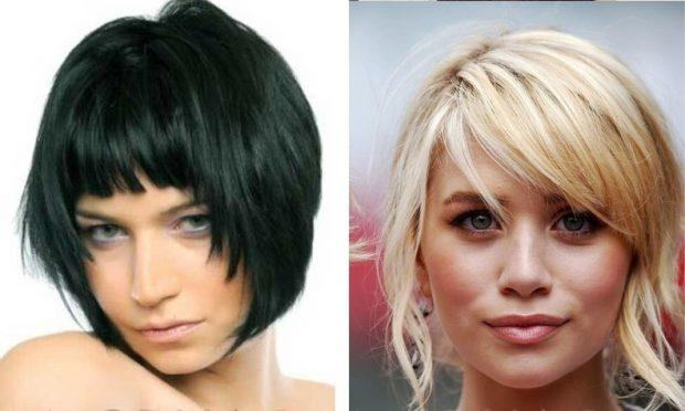стрижка на короткие волосы 2020 2021 года короткое каре с ровной челкой с косой челкой для женщин за 30