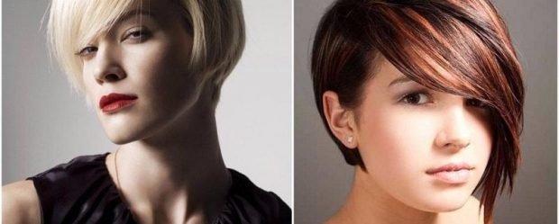 стрижка-боб с косой челкой на короткие волосы для женщин за 30 2019 2020