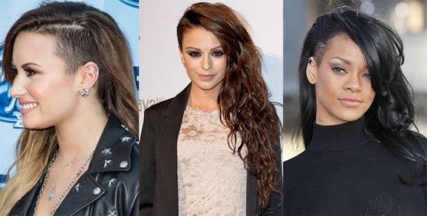 мода 2018 2019 женская стрижка волосы средняя длина выбритый висок