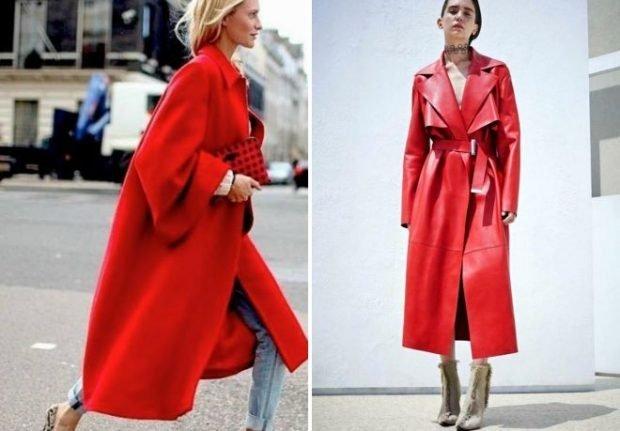 пальто красное плащ красный кожаный миди