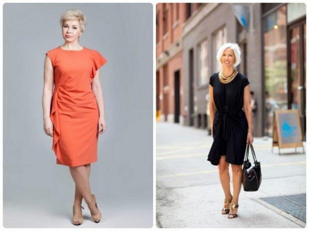 платье коралловое миди черное с коротким рукавом для женщин после 50 лет