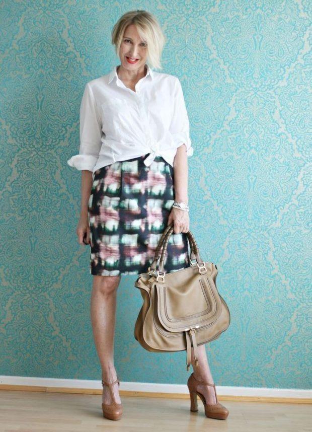 цветная юбка под рубашку белую