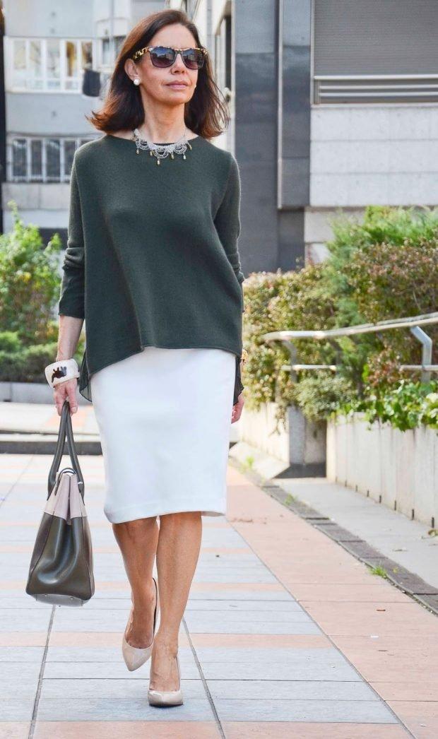 юбка белая кофта зеленая