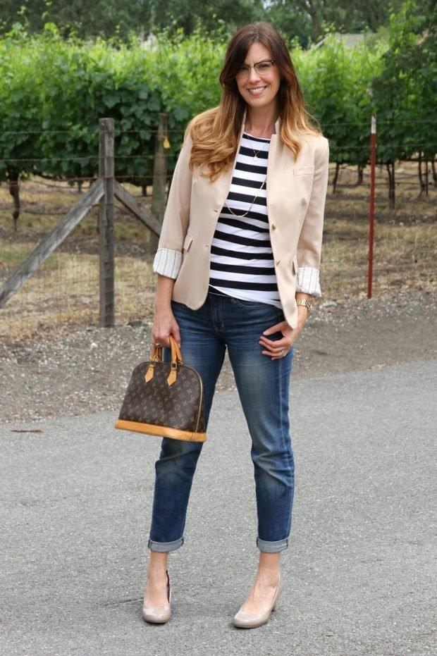 джинсы короткие под жакет светлый