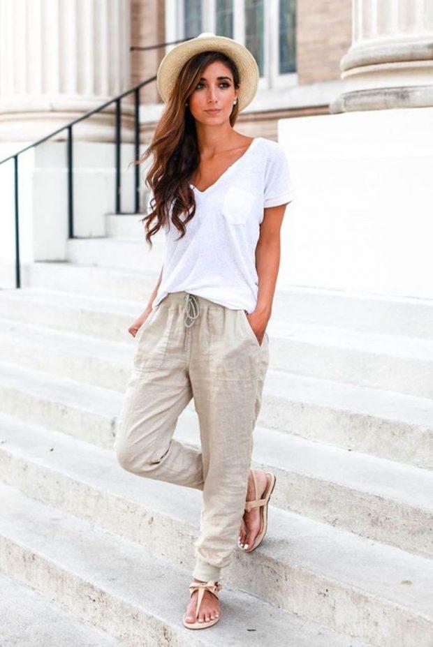 брюки бежевые из льна под футболку белую