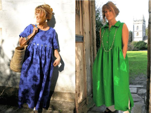 платья свободный крой синее в цветы салатовое без рукава