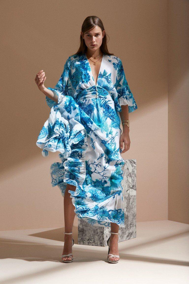 платье голубое с белым шифон