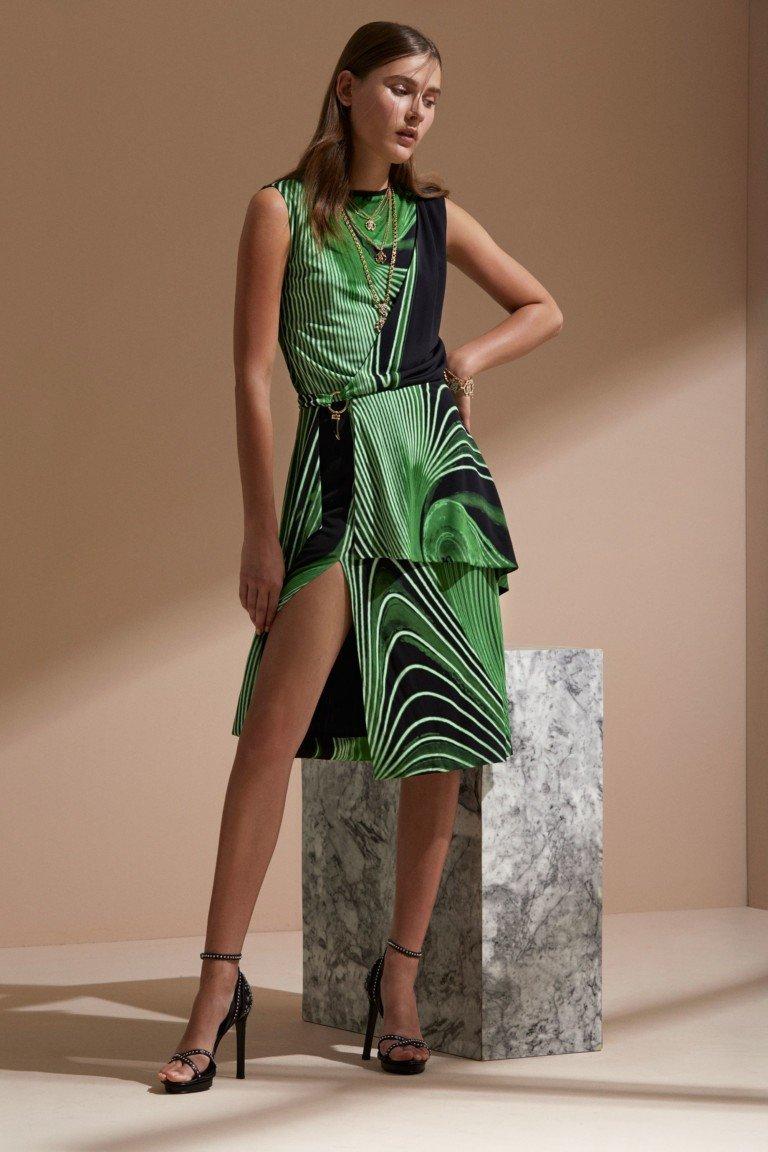 платье зеленое с черным асимметрия