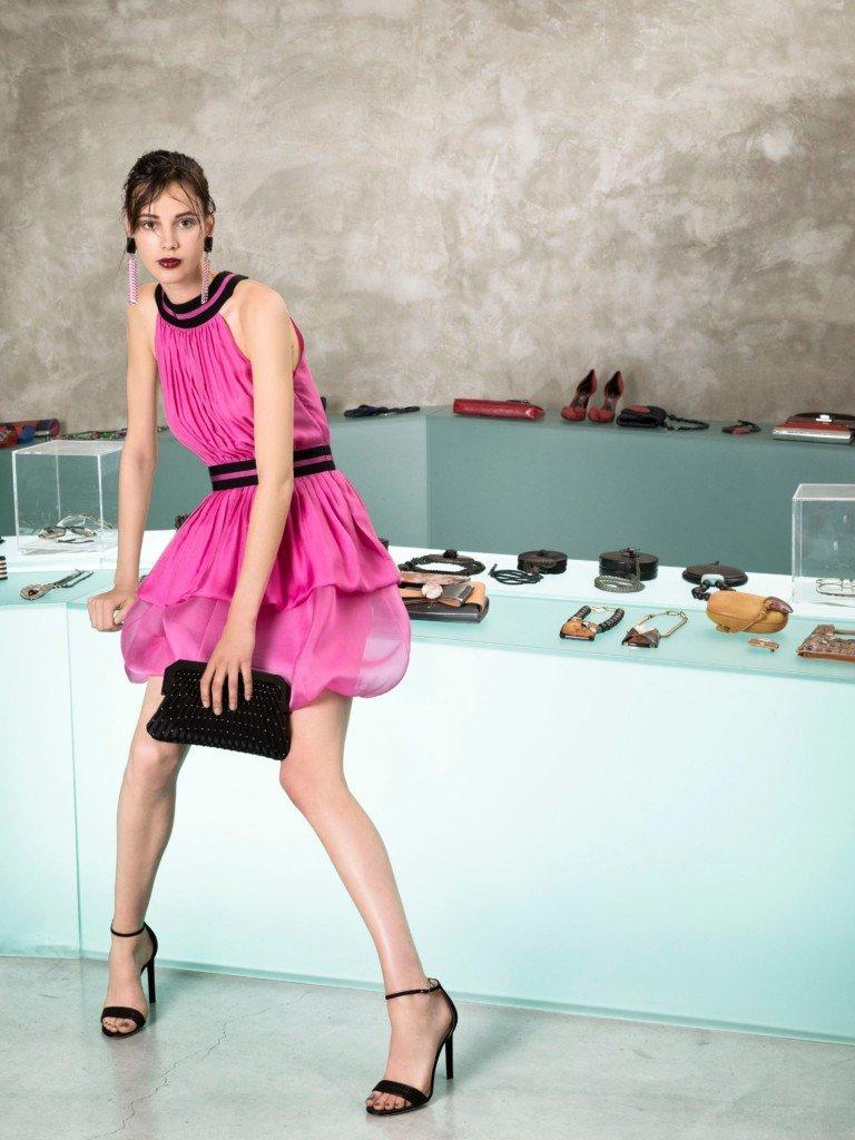 платье розовое без рукава шифон