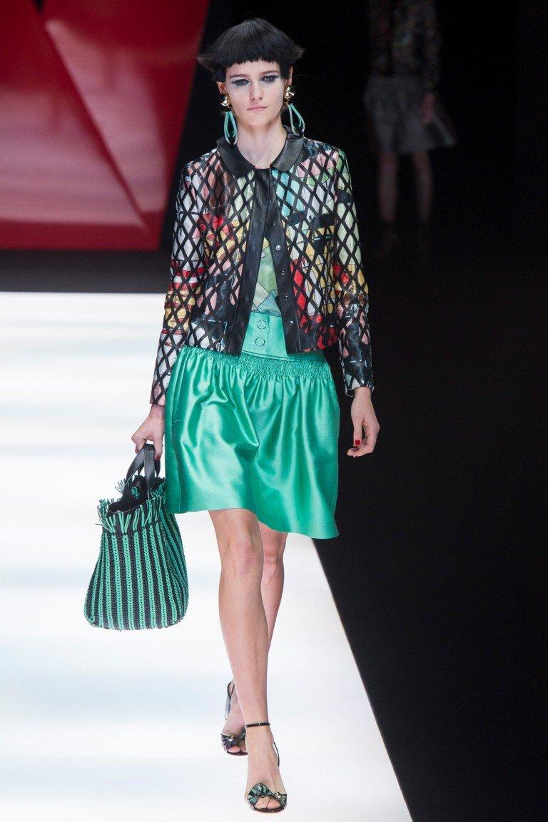 юбка зеленая жакет цветной