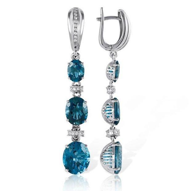 длинные серебро с голубыми камнями