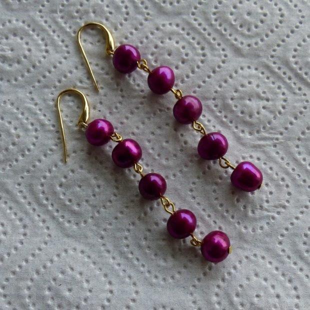 висячие сережки жемчуг фиолетовый