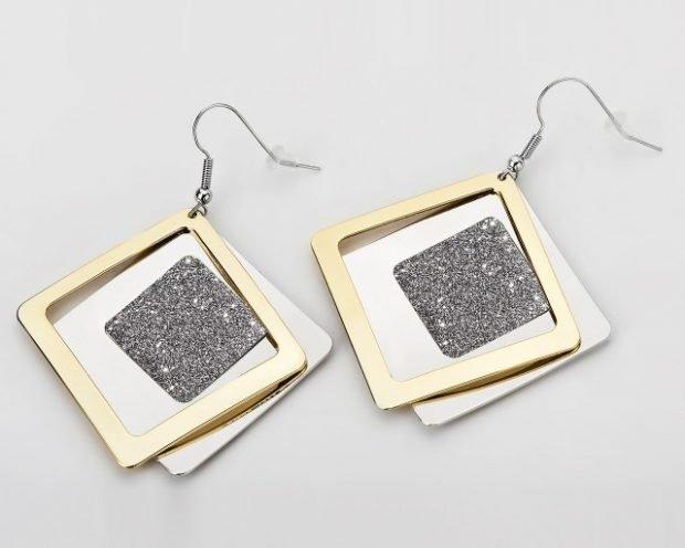 сережки квадраты золото и серебро