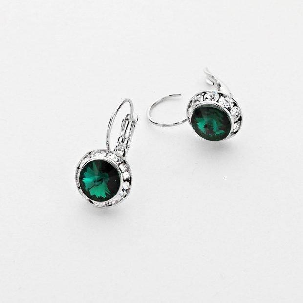 серьги 2021: круглые серебро с зеленым камнем