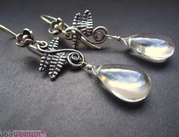 серьги-капли серебро с камнями