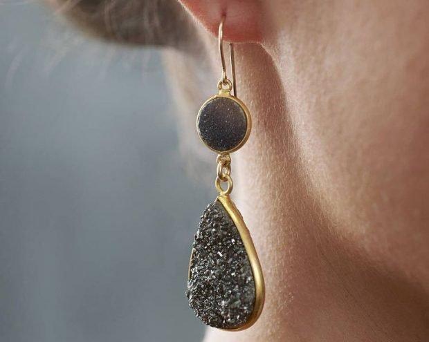 серьги-капли золотые с черными мелкими камнями