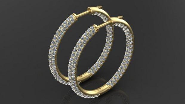 золотые серьги кольца с камушками мелкими