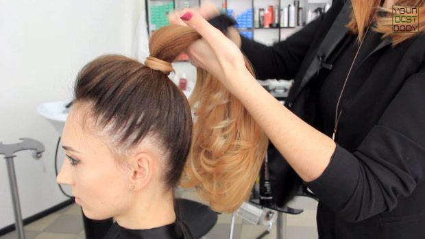 уложенные волосы 2018 2019 - высокий хвост
