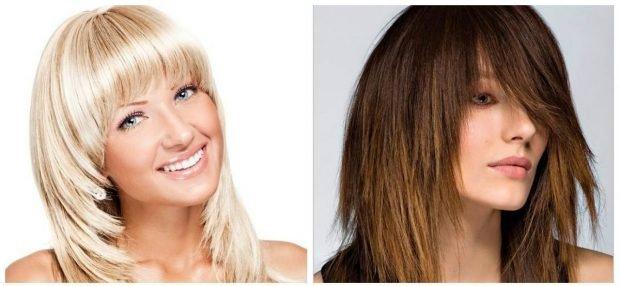 укладка волос 2018 2019 - каскад укладка прямая с косой челкой