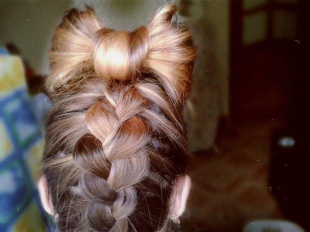 укладка волос бант и коса 2018 2019